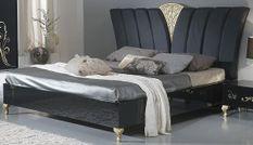 Lit double bois laqué noir et doré Jade 160x200 cm