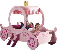 Lit enfant carrosse de princesse 90x200 cm bois rose Cara