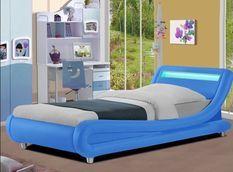 Lit enfant à LED synthétique bleu Rolina 90x190 cm