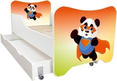 Lit enfant à tiroir et matelas 70x140 cm Panda