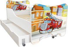 Lit enfant à tiroir et matelas 70x140 cm Pompier