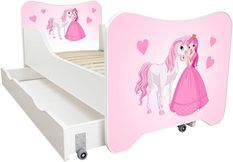 Lit enfant à tiroir et matelas 70x140 cm Princesse et cheval