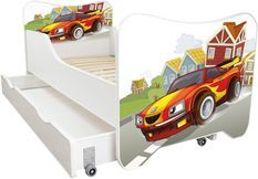 Lit enfant à tiroir et matelas 70x140 cm Racing car