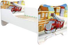 Lit enfant avec matelas Camion de pompier 70x140 cm