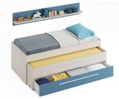 Lit enfant gris et bleu 90 x 190 cm avec 2 tiroirs et 1 étagère Zola