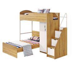 Lit combiné enfant avec sommier contemporain coloris naturel et blanc + armoire - l 90 x L 190 cm
