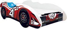 Lit enfant voiture avec matelas F1 Speed rouge 70x140 cm