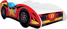 Lit enfant voiture avec matelas F1 Top car rouge 70x140 cm