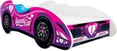 Lit enfant voiture avec matelas F1 Tweet car rose 70x140 cm