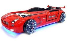 Lit enfant voiture Roadster rouge à Led