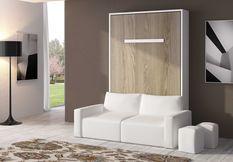 Lit escamotable 140x190 cm avec canapé coffre tissu Espacia