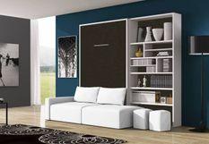 Lit escamotable 140x190 cm avec canapé coffre tissu et bibliothèque Moba