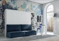 Lit escamotable 140x190 cm avec canapé tissu Logia