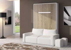 Lit escamotable 160x200 cm avec canapé coffre tissu Espacia