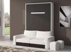 Lit escamotable 80x180 cm avec canapé coffre tissu Espacia