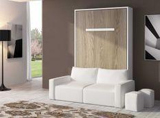 Lit escamotable 80x190 cm avec canapé coffre tissu Espacia