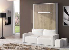 Lit escamotable 90x190 cm avec canapé coffre tissu Espacia