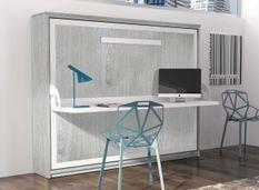 Lit escamotable avec bureau 90x190 cm chêne gris profondeur 35 cm Kinoa