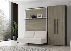 Lit escamotable avec canapé en tissu et armoire Nadale 140x190 cm
