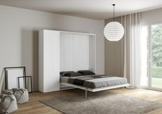Lit escamotable avec colonne de rangement bois frêne blanc kanto 120x190 cm
