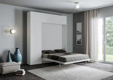 Lit escamotable avec colonne de rangement et éléments hauts bois frêne blanc kanto 140x190 cm