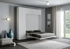 Lit escamotable avec colonne de rangement et éléments hauts bois frêne blanc kanto 160x190 cm