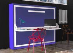 Lit escamotable horizontal 90x180 cm profondeur 53 cm avec bureau Bona