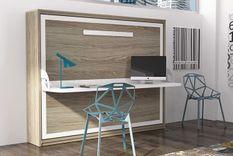 Lit escamotable horizontal 90x190 cm profondeur 34,5 cm avec bureau Bona