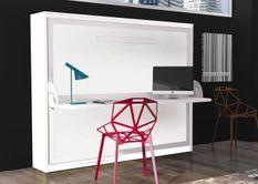 Lit escamotable horizontal 90x190 cm profondeur 53 cm avec bureau Bona