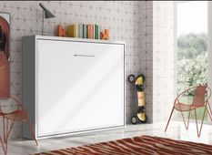 Lit escamotable horizontal 90x200 cm blanc satiné Valok