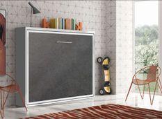 Lit escamotable horizontal 90x200 cm gris béton Valok