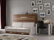 Lit escamotable horizontal avec canapé tissu Vetal 140x190 cm