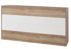 Lit escamotable transversale 90x200 cm naturel et blanc mat Loka