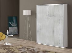 Lit escamotable vertical 90x190 cm chêne gris Banila