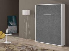 Lit escamotable vertical 90x190 cm gris béton Banila