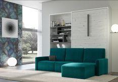 Lit escamotable vertical avec canapé d'angle en tissu Markal 140x190 cm