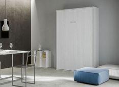 Lit escamotable vertical bois frêne blanc kanto 120x190 cm