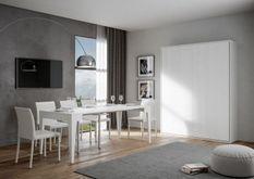 Lit escamotable vertical bois frêne blanc kanto 160x190 cm