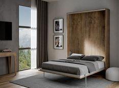 Lit escamotable vertical bois noyer kanto 120x190 cm