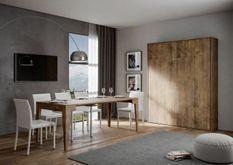 Lit escamotable vertical bois noyer kanto 140x190 cm