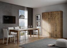 Lit escamotable vertical bois noyer kanto 160x190 cm