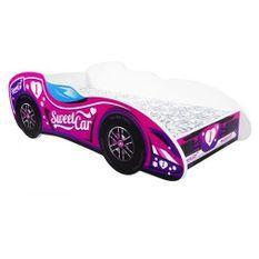 Lit F1 sweet car mélaminé rose 80x160 cm