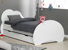 Lit gigogne 90x190 cm bois blanc Altéa