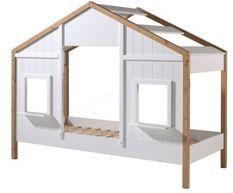 Lit maisonnette 90x200 cm 2 fenêtres bois clair et blanc Babs