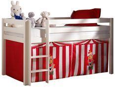 Lit mezzanine 90x200 cm avec tente clown pin massif blanc Pino