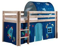 Lit mezzanine 90x200 cm avec tente et tunnel astra pin massif clair Pino
