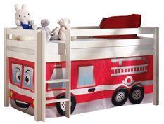 Lit mezzanine 90x200 cm avec tente pompier pin massif blanc Pino
