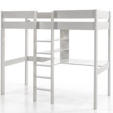 Lit mezzanine 90x200 cm pin massif laqué blanc Pinie