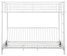 Lit mezzanine avec banquette métal blanc 90x190 ou 140x190 cm Mezzaclic