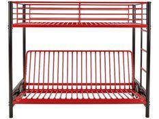 Lit mezzanine avec banquette métal rouge et noir 90x190 ou 140x190 cm Mezzaclic